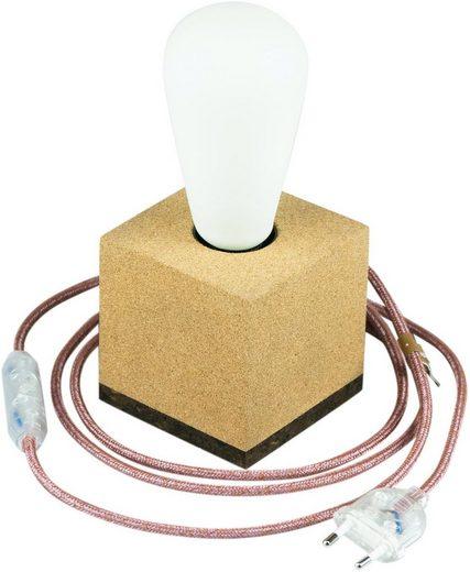 SEGULA Tischleuchte »Tischlampe Korkwürfel, 2m Textilkabel marsala«, 1-flammig, Mit Schalter