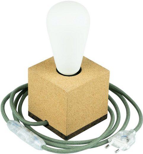 SEGULA Tischleuchte »Tischlampe Korkwürfel, 2m Textilkabel grün«, 1-flammig, Mit Schalter