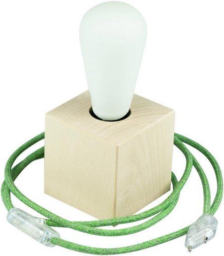 SEGULA Tischleuchte »Tischlampe Holzwürfel 2m Textilkabel grün«, 1-flammig, Mit Schalter