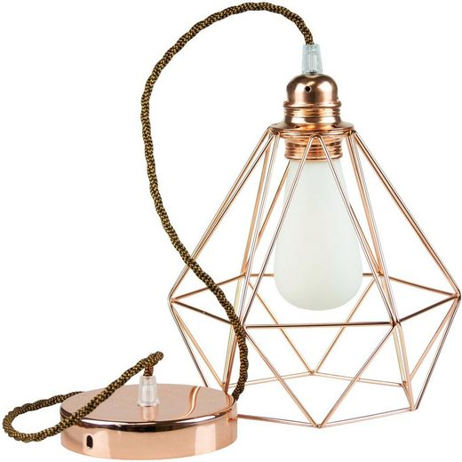 SEGULA Hängeleuchte »Pendelleuchte Diamant Kupfer Metall, gedrehtes Textilkabel whiskey«, 1-flammig