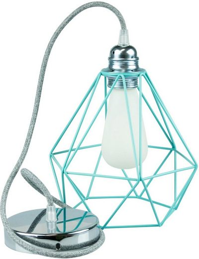 SEGULA Hängeleuchte »Pendelleuchte Diamant Türkis Metall, Chrom, Textilkabel grau«, 1-flammig