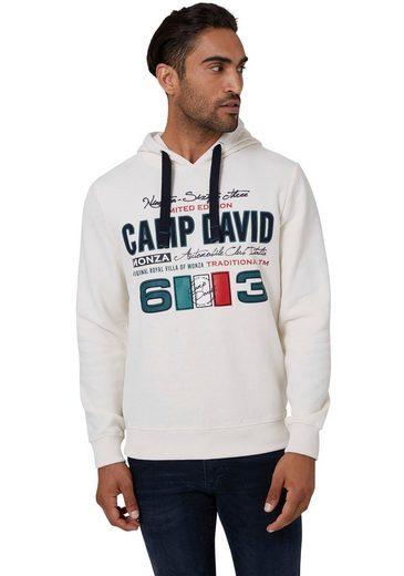 CAMP DAVID Kapuzensweatshirt mit Rippbündchen an Ärmeln und Saum