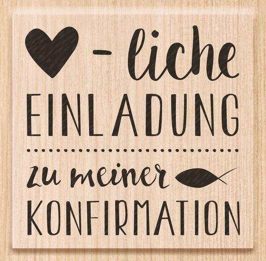 """Heyda Holzstempel """"Herzliche Einladung Konfirmation"""" 6 cm x 5,6 cm"""