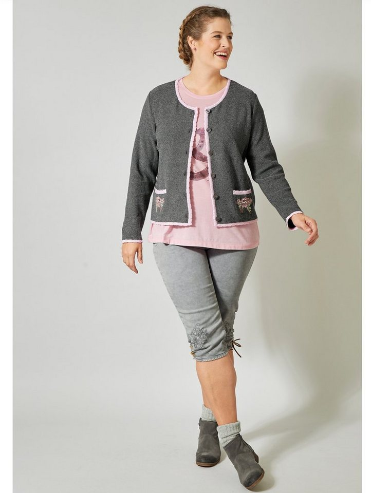 janet und joyce by happy size -  Trachten-Strickjacke mit Stickerei