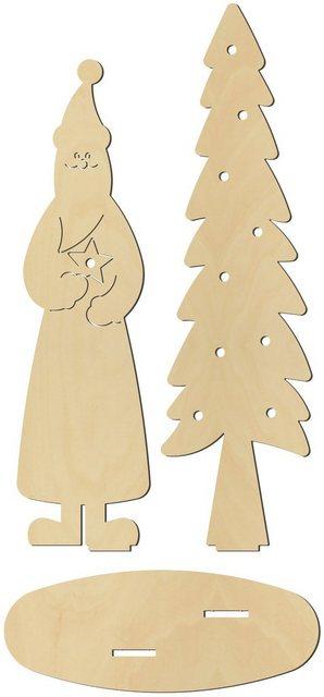 Stehfigur Weihnachtsmann mit Tanne beleuchtbar   Weihnachten > Weihnachtsbeleuchtung   OTTO