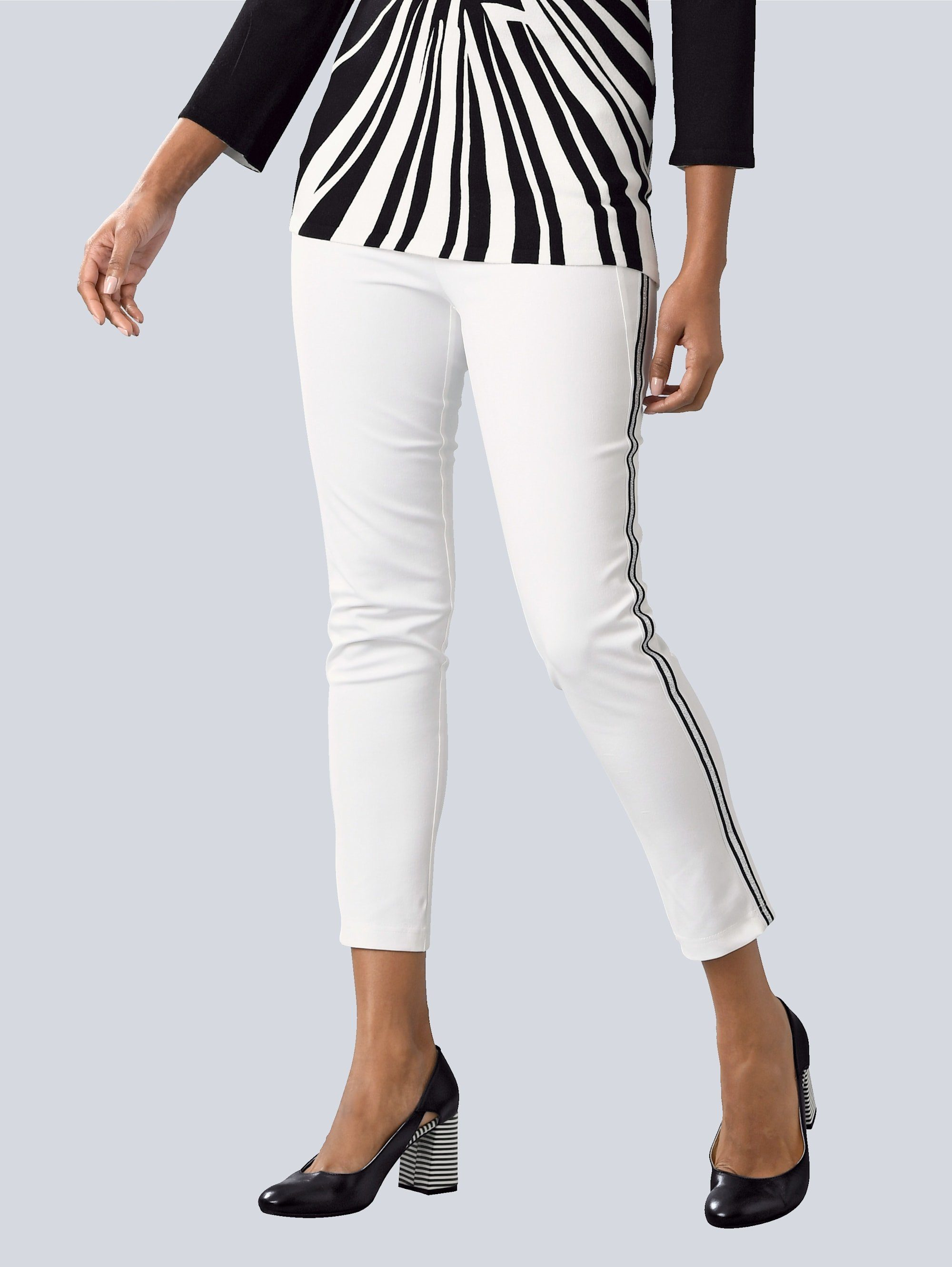 Alba Moda Hose mit seitlichem Galon, Schmale Silhouette mit hohen Tragekomfort durch Elasthan Ant online kaufen | OTTO