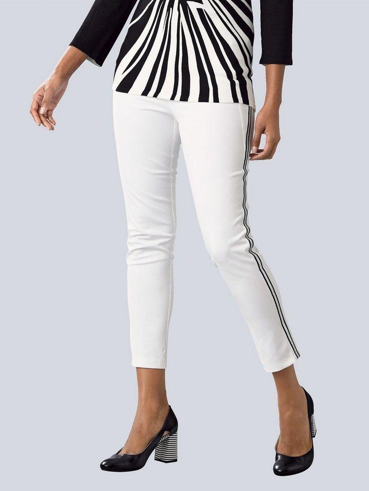 alba moda hose mit seitlichem galon, schmale silhouette mit hohen tragekomfort durch elasthan ant online kaufen otto  alba moda hose in edlem muster schwarz damen bekleidung sklwinyap #3