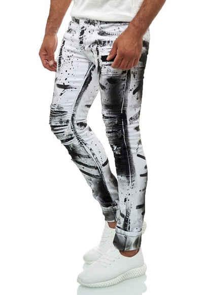 KINGZ Slim-fit-Jeans mit ausgefallener Batik-Waschung