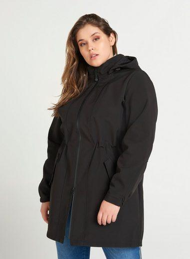 Zizzi Softshelljacke Damen Lange Softshell Jacke mit Fleece Wasserdicht Große Größen