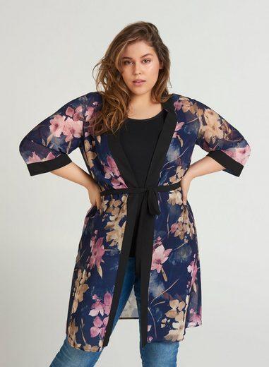 Zizzi Cardigan Große GrößenDamen Kimono mit 3/4-Ärmeln und Bindeband