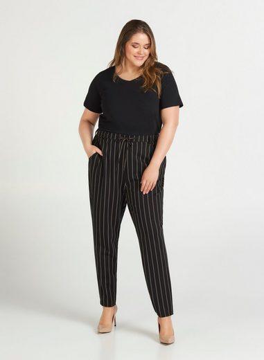 Zizzi Jogginghose Damen Große Größen Maddison Hose Streifen Cropped Anzughose