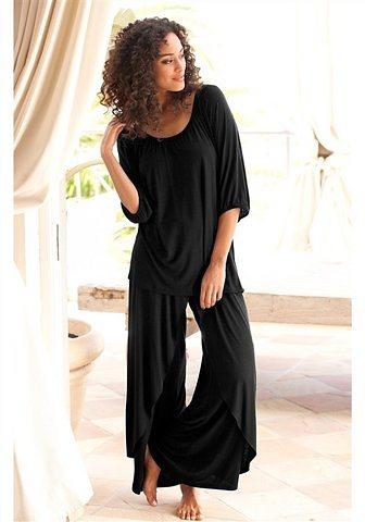 Damen LASCANA Pyjama in edler Layeroptik schwarz   08698826064829