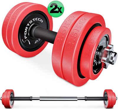 Sportstech Hantel-Set, 30 kg, (Set, 31-tlg., mit Kurz- und Langhantelstange)