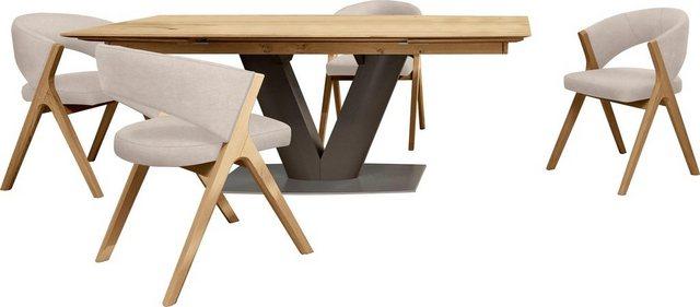 GWINNER Essgruppe »Anzio«, (Set, 5-tlg), inkl. 4 Stühle wahlweise mit Stoff oder Leder bezogen, Tischplatte in Balkeneiche furniert, Fuß in anthrazit seidenmatt lackiert