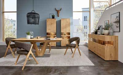 GWINNER Essgruppe »Anzio«, (Set, 5-tlg), inkl. 4 Stühle wahlweise mit Stoff oder Leder bezogen, Tischplatte in Balkeneiche furniert