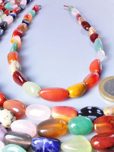Adelia´s Kette ohne Anhänger »Multicolor Nugget Steinstrang - 40 cm«