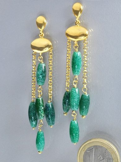 Adelia´s Paar Ohrhänger »Aventurin grün Ohrschmuck / Ohrhänger - 925 Silber vergoldet«