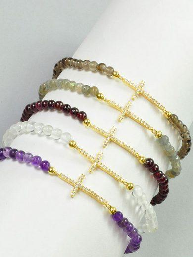 Adelia´s Armband »Bergkristall Armband - Kreuz - 925 Silber vergoldet - 18,5 cm«
