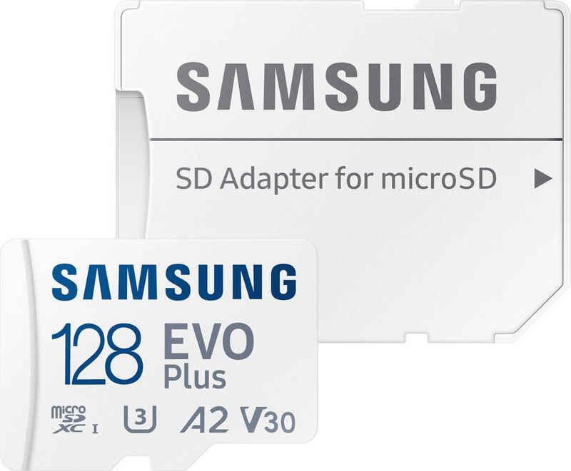 Samsung »EVO Plus 128GB microSDXC Full HD & 4K UHD inkl. SD-Adapter« Speicherkarte (128 GB, UHS Class 10, 130 MB/s Lesegeschwindigkeit)