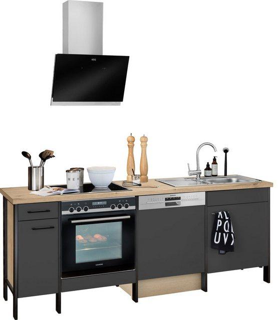 Einbauküchen - OPTIFIT Küchenzeile »Tokio«, ohne E Geräte, Breite 224 cm, mit Stahlgestell, mit Vollauszügen  - Onlineshop OTTO