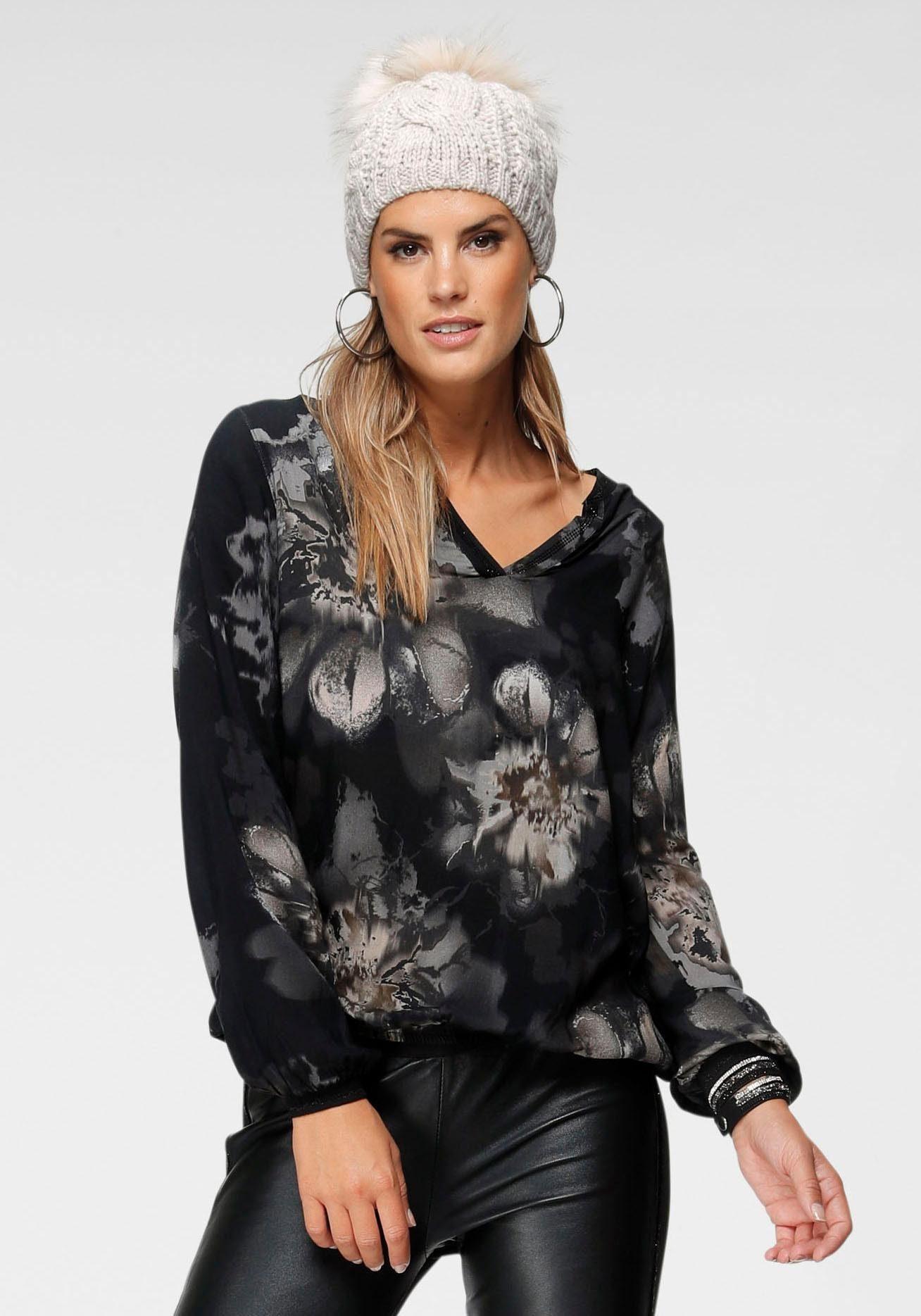 Monari V Ausschnitt Pullover mit Glitzerstreifen am Ärmel online kaufen | OTTO