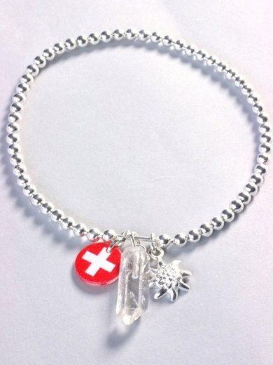 Adelia´s Armband »Bergkristall Stein Armband - 925 Silber - 17 cm«