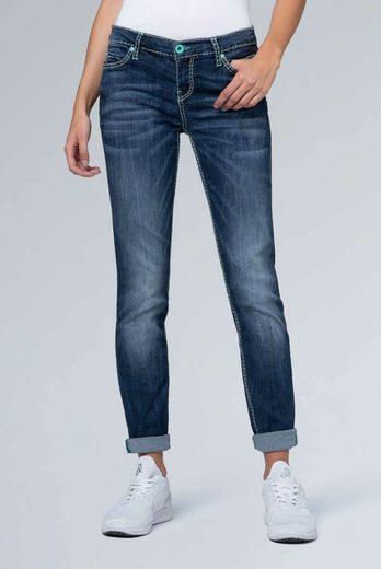 SOCCX Slim-fit-Jeans »HE:DI« mit Kontrast-Steppungen