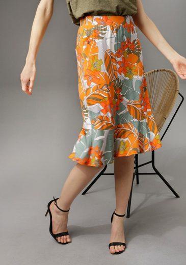 Aniston CASUAL Sommerrock mit trendfarbenen Blumendruck