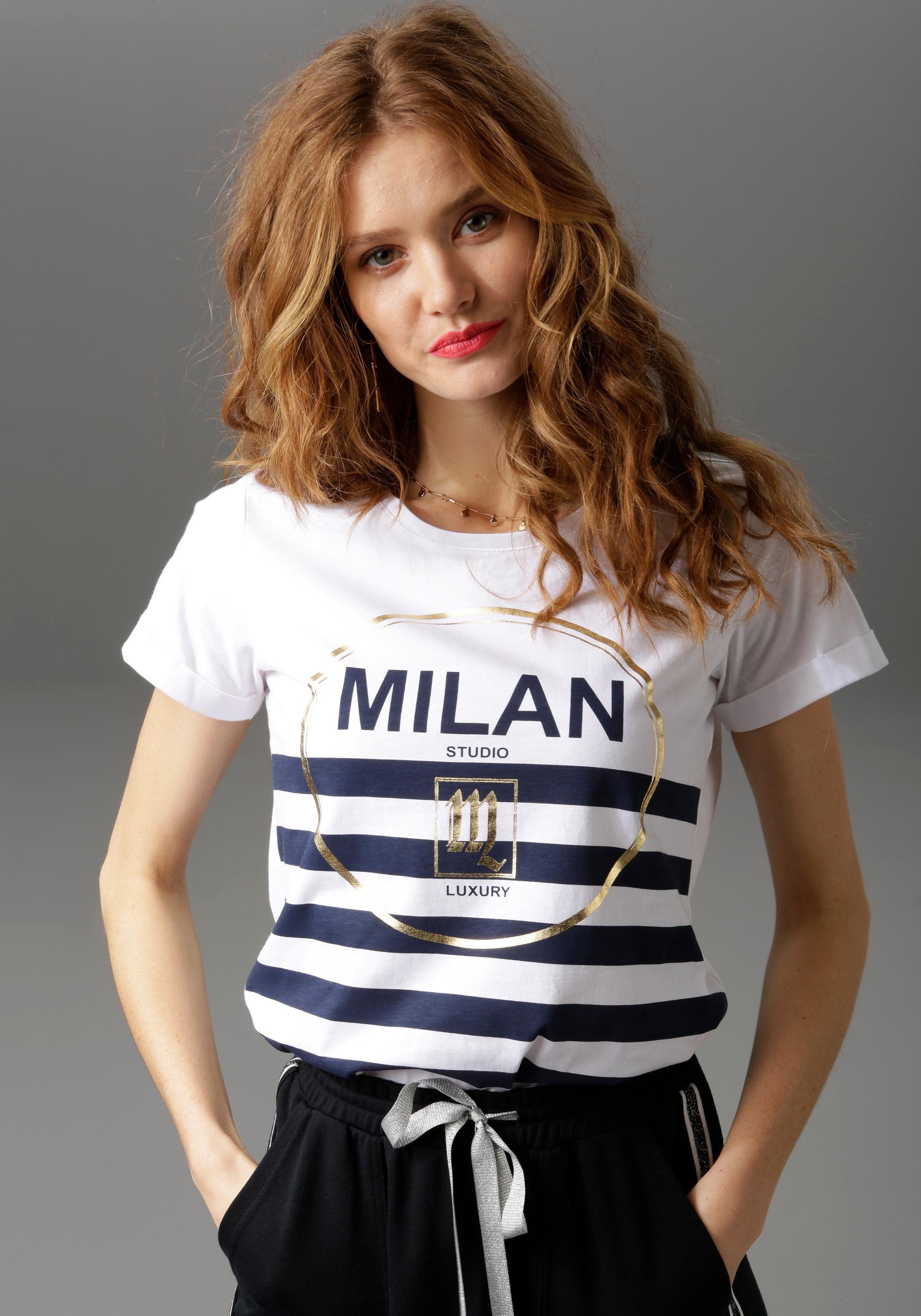 Aniston CASUAL T Shirt mit goldfarbenen Glitzerdruck und Streifen NEUE KOLLEKTION online kaufen | OTTO