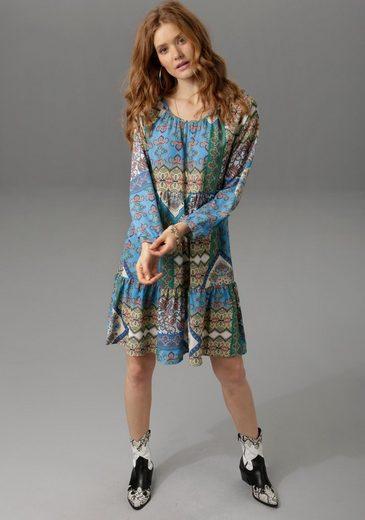 Aniston CASUAL Druckkleid mit farbenfrohen Patch-Mustern