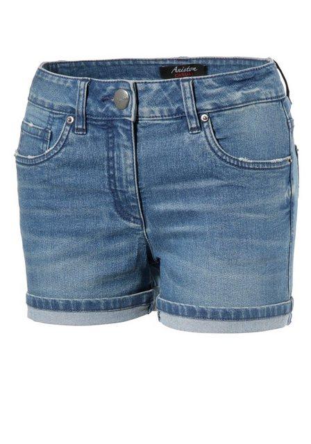 Hosen - Aniston CASUAL Jeansshorts mit leichten Abriebeffekte › blau  - Onlineshop OTTO