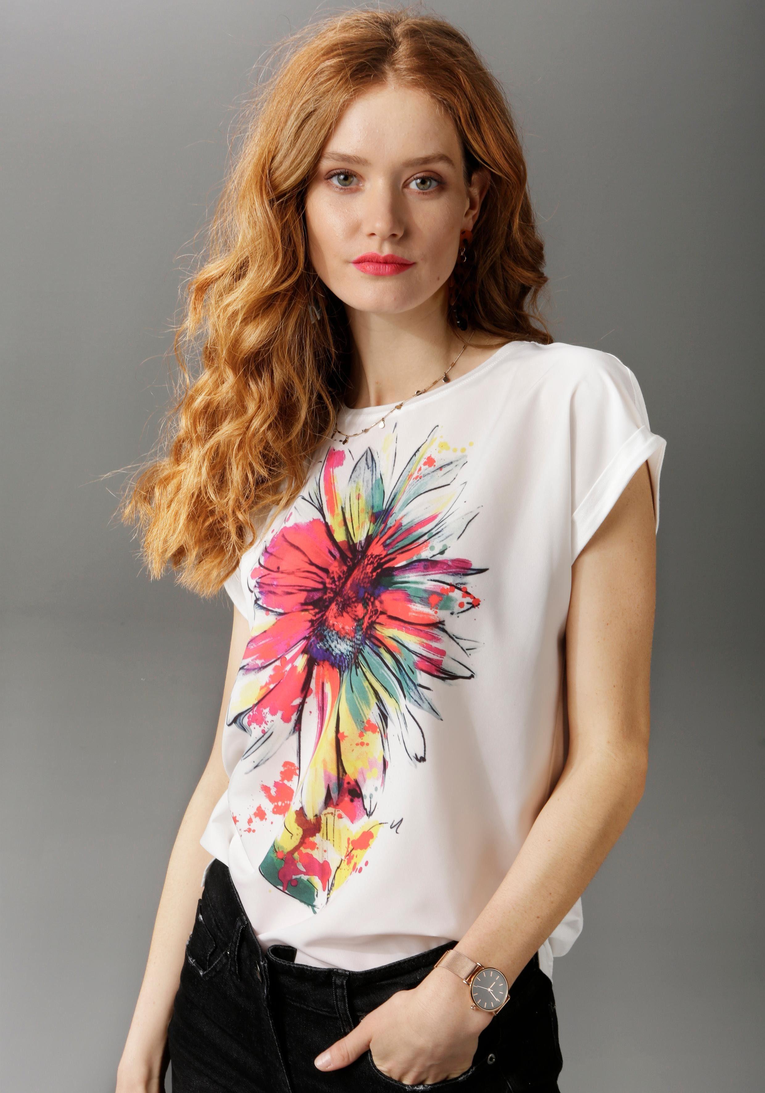 Aniston CASUAL T Shirt mit graphischen Blütendruck NEUE KOLLEKTION online kaufen | OTTO