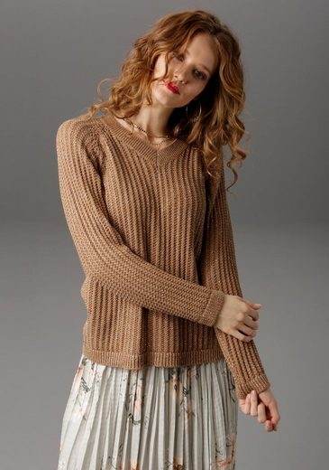 Aniston CASUAL V-Ausschnitt-Pullover mit Glitzerfäden
