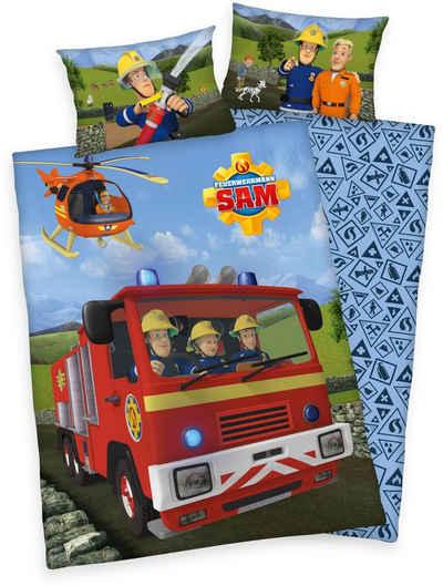 Babybettwäsche »Feuerwehrmann Sam«, Feuerwehrmann Sam, mit Löschzug und Helikopter