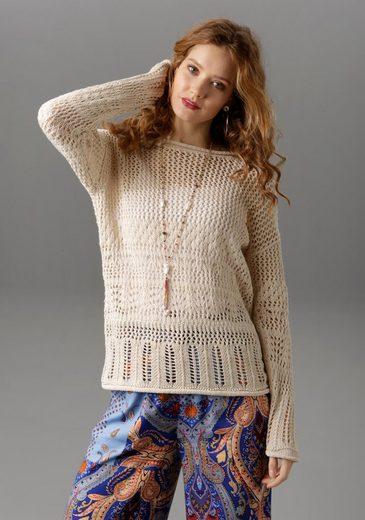 Aniston CASUAL Rundhalspullover mit trendigen Rollkanten