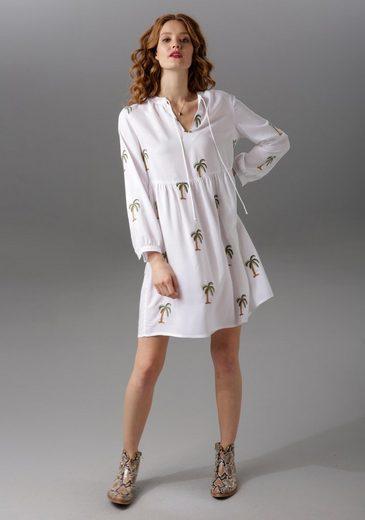Aniston CASUAL Tunikakleid mit Palmen bestickt