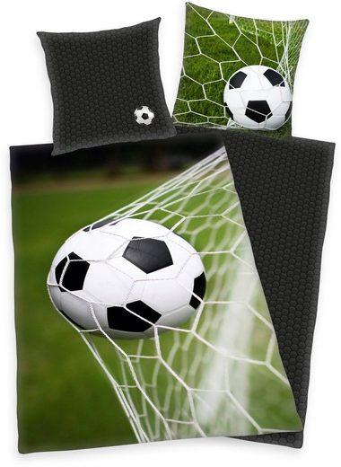 Wendebettwäsche »Fußball«, Herding, mit Ball im Netz