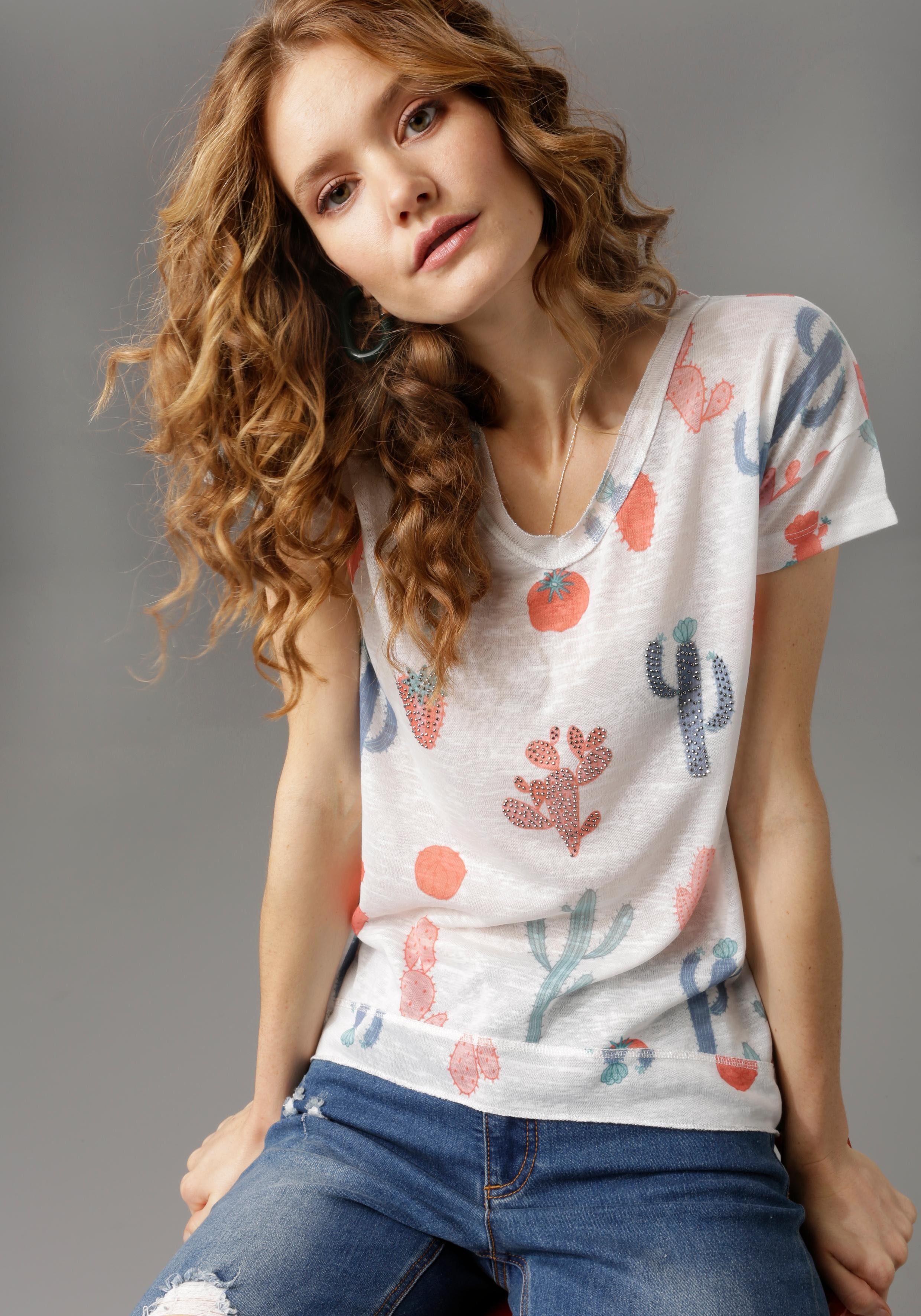 Damen Aniston CASUAL T-Shirt mit Kakteen und Glitzersteinchen – NEUE KOLLEKTION  | 08680851147189