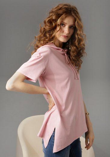 Aniston CASUAL T-Shirt mit Kapuze und Bindeband