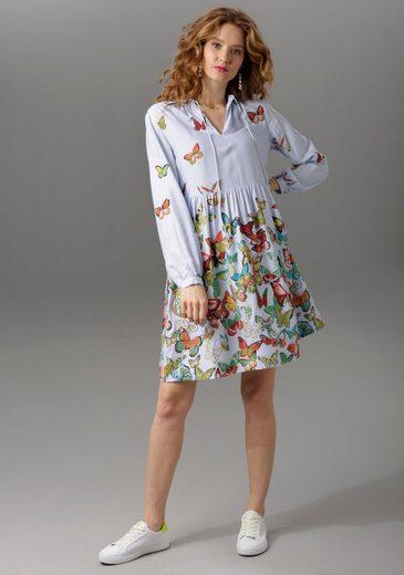 Aniston CASUAL Tunikakleid mit Schmetterlingen bedruckt