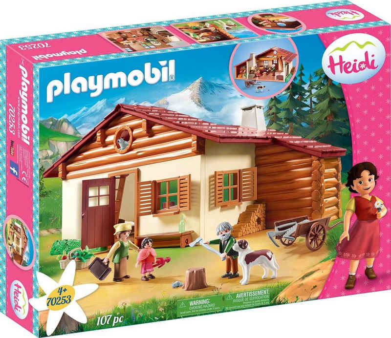 Playmobil® Konstruktions-Spielset »Heidi und Großvater auf der Almhütte (70253), Heidi«, (107 St), Made in Germany