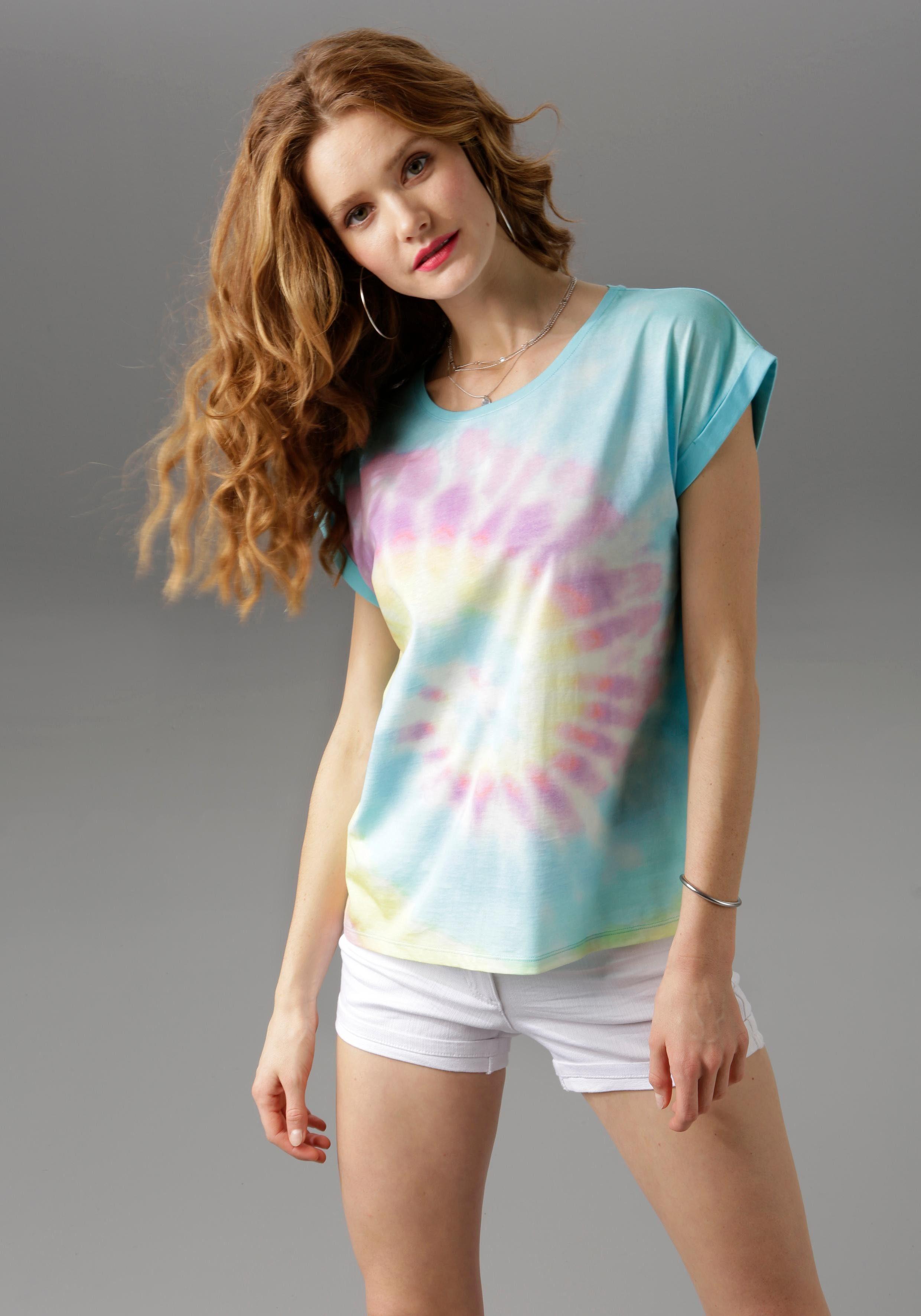 Aniston CASUAL T Shirt mit Batikdruck in Regenbogenfarben NEUE KOLLEKTION online kaufen | OTTO