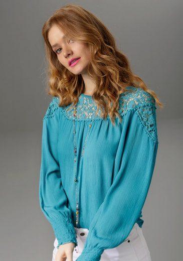 Aniston CASUAL Spitzenbluse aus Häkelspitze und Bordüren