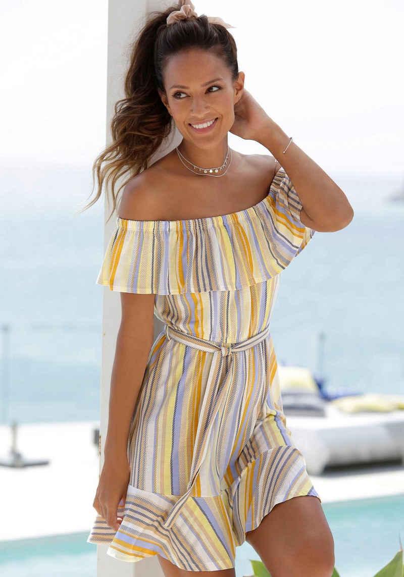 Venice Beach Strandkleid (mit Bindegürtel) mit Streifenprint