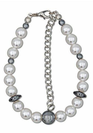 J.Jayz Armband »Perlenarmband in zweifarbiger Optik mit Kugeln und Scheiben«, mit Kunststoffperlen und Hämatit