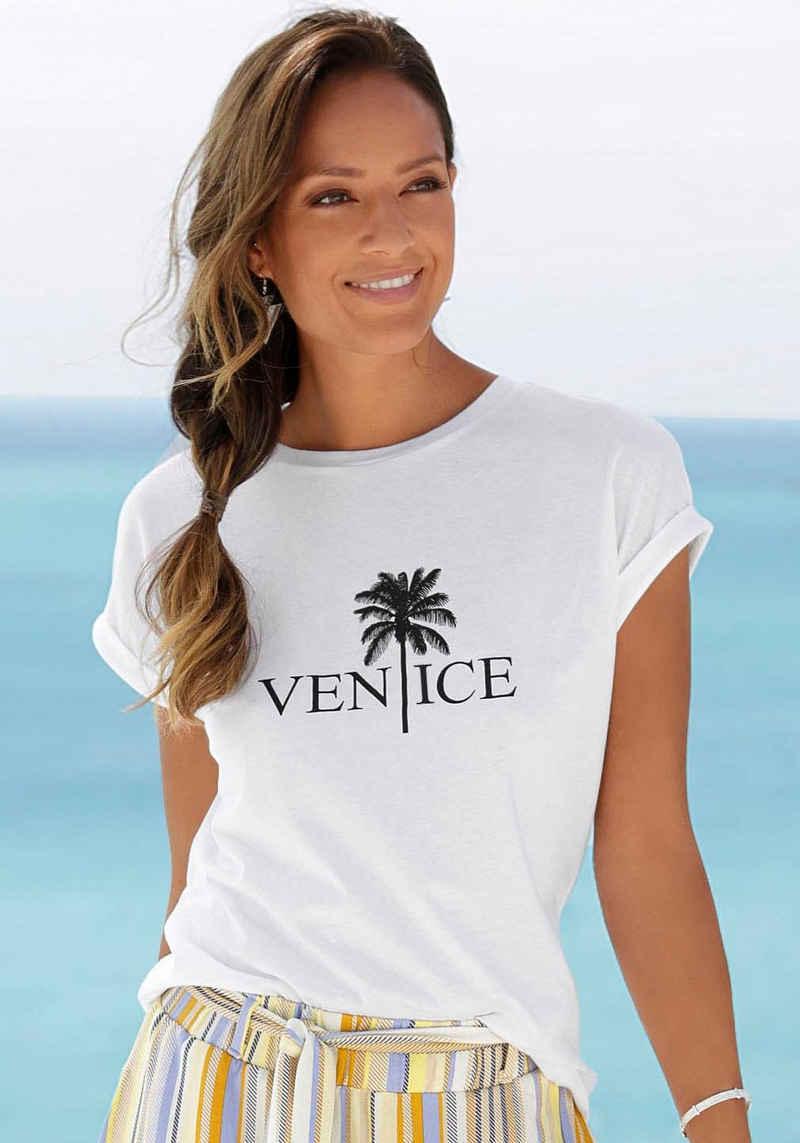 Venice Beach Rundhalsshirt mit Frontdruck