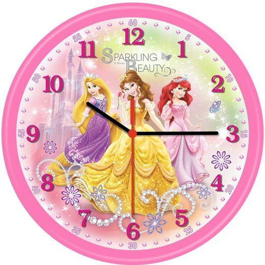 technoline Wanduhr »QWU Princess 4 Kinderwanduhr« (Mädchen, Prinzessin, Princess Design, Disney Collection, Pink / Rosa, Kinderzimmer, Quarzwanduhr)