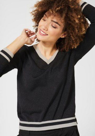 STREET ONE V-Ausschnitt-Pullover im Glitzer-Look