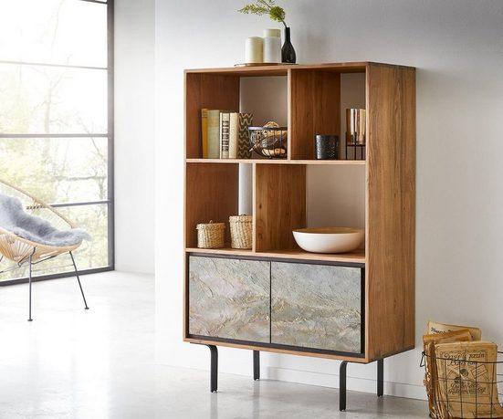 DELIFE Bücherschrank Juwelo 88 cm Akazie Natur mit Steinfurnier