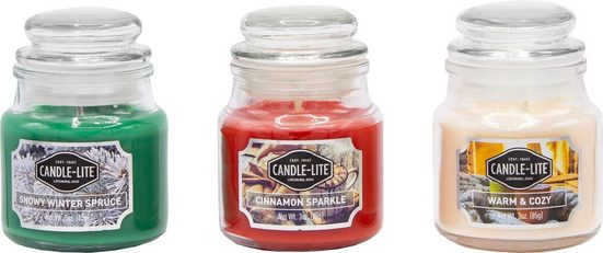 Candle-lite™ Duftkerze »Everyday - Snowy Winter Spruce + Cinnamon Sparkle + Warm & Cozy« (Set, 3-tlg), Inhalt je Kerze 85 g